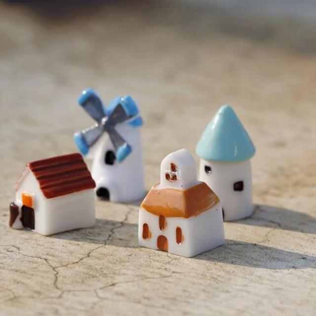 4PCS/set mini resin church castle windmill miniaturas home decoration accessories miniature garden ornaments terrarium figurines