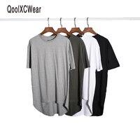 QoolXCWear 2017 kanye west hiphop t shirt odzieży miejskiej justin bieber takla t-shirty szary rozszerzona t shirt