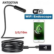 купить Wireless Endoscope Camera IOS Android System 3/5/10M Soft cable 8mm lens HD 720P Borescope Mini camera Pipe Car inspection дешево