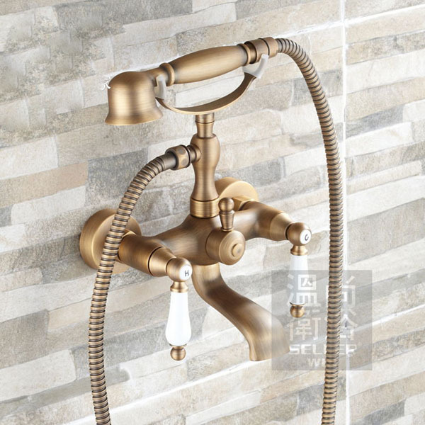 Antique Brass Tub Faucet Wall Mounted Mixer Tap Ceramic Handles With Hand Shower shower faucet wall mounted antique brass bath tap swivel tub filler ceramic style lift sliding bar with soap dish mixer hj 67040