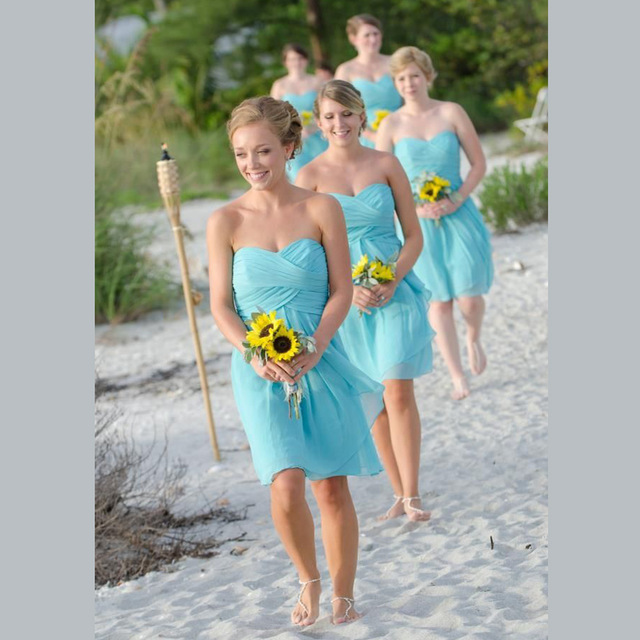3610a1c98 Turquoise Bridesmaid Dresses Coral Blue Chiffon Short Pleated Sweetheart  Junior Bridesmaids Formal Dress For Wedding Cheap