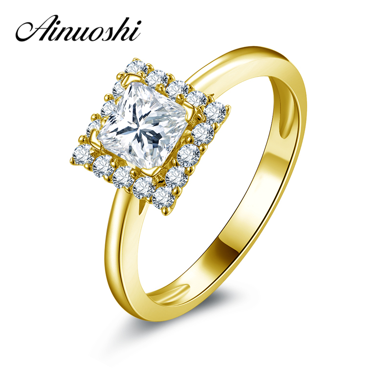 AINUOSHI 10K Solid Yellow Gold Wedding Halo Ring Lover Promise Anel de ouro Princess Cut Simulated Diamond Women Engagement Ring ainuoshi 10k solid yellow gold wedding ring 2 ct round cut simulated diamond anel de ouro female wedding rings for women gifts