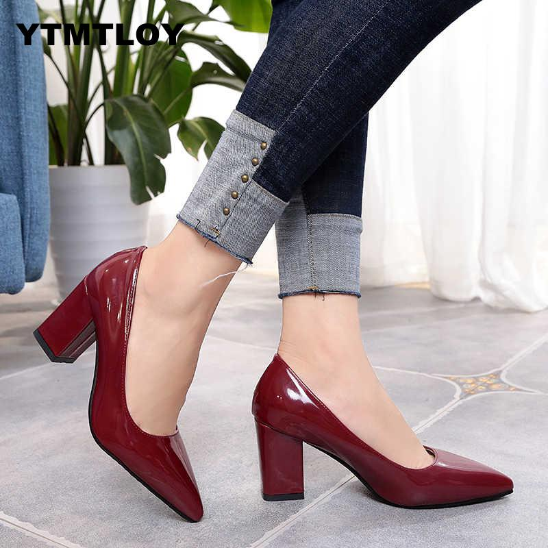 Plus Size 33-43 Shoes Square Block Heels Women Pumps  Pointed Toe Fashion Gray High Heels Leather Black Party Red Sexy  Platform