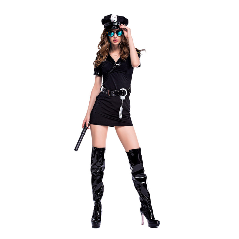 Image 4 - Women Man Cop Costume Halloween Party Black Policewomen Policeman Uniform Police Officer Cosplay Fancy Dress-in Sexy Costumes from Novelty & Special Use