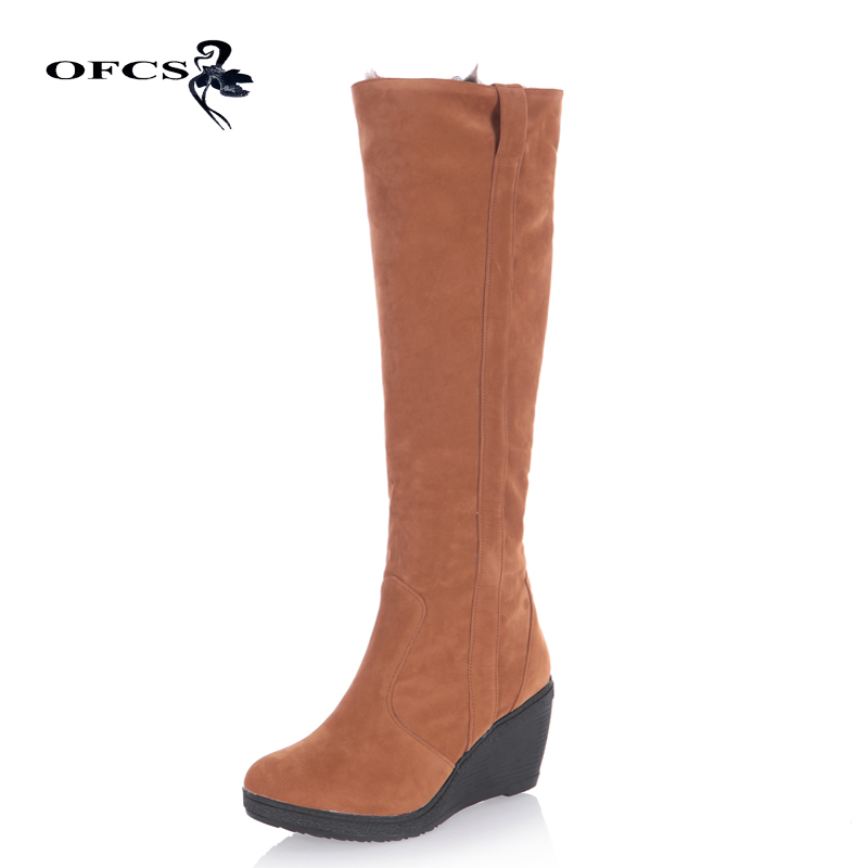 2019 New Women Snow Boots Thick Keep Warm Fur Shoes Sexy High Heel Wedge Shoes Round Toe Platform Knee High Long Winter Boots 100% Original