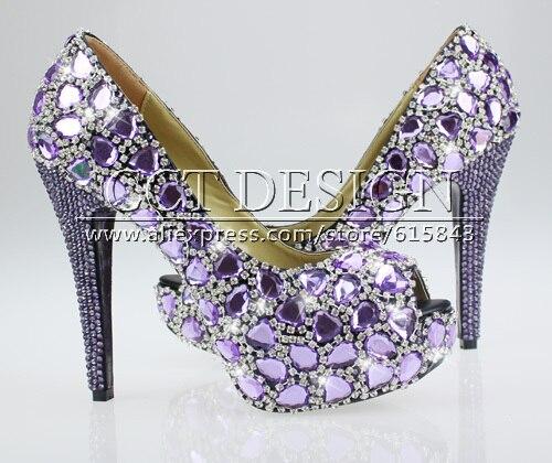 Handmade FASHION women shoes sparkly CRYSTAL Purple Dress Shoes high ...