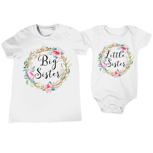 3639ca4322e2 Baby Girl Clothes Summer Fashion Cute Newborn Baby Girl Letter Floral Romper  Jumpsuit Sister Outfits Clothes Little Sister Twins