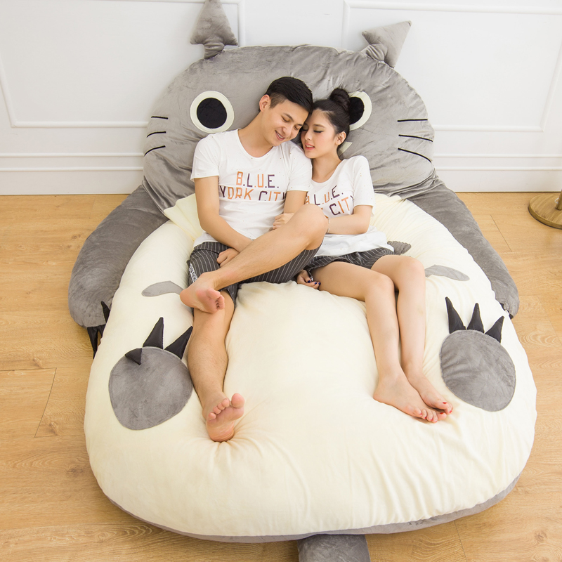 Grand canapé lit Totoro dessin animé doux matelas Totoro conception animale pour enfants Tatami tapis grande taille coussin cadeau livraison directe