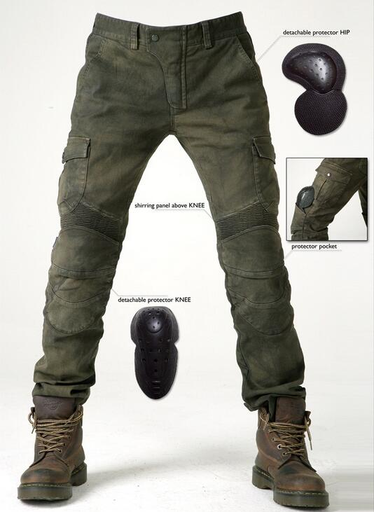 Free shipping For UB06 Army Green casual motorcycle ride pants motorcycle jeans denim pants loose automobile