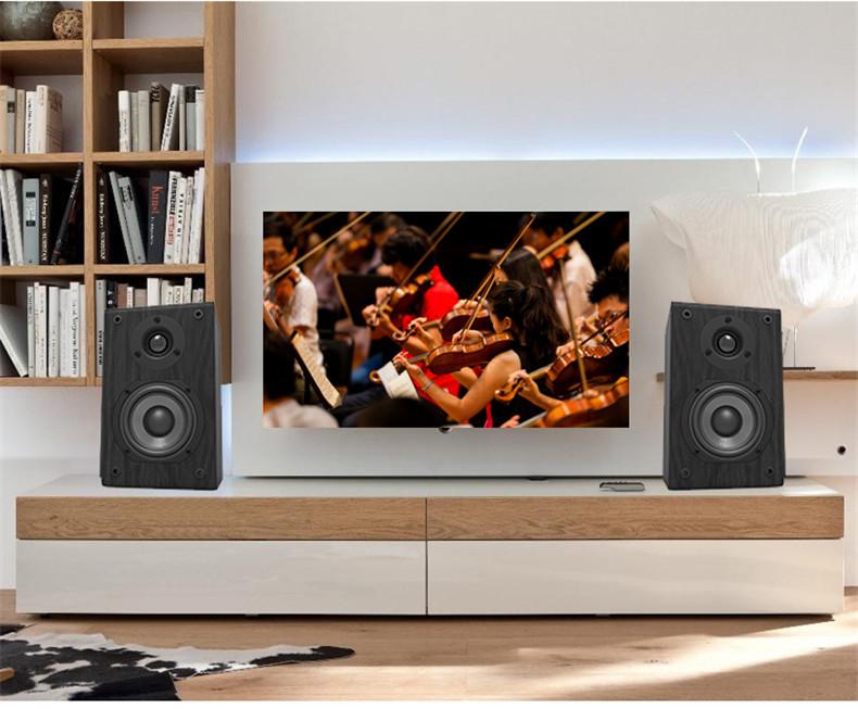 LONPOO Bookshelf Speaker Passive Pair 2-Way 75W *2 Classic Wooden Loudspeaker with 4-inch Carbon Fiber Woofer Tweeter Speaker 6
