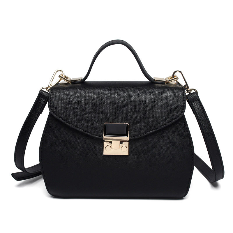 Ladylike Small Hand Bag Women Sweet Style Lock Flap Black Shoulder Bag PU Leather Korean Style
