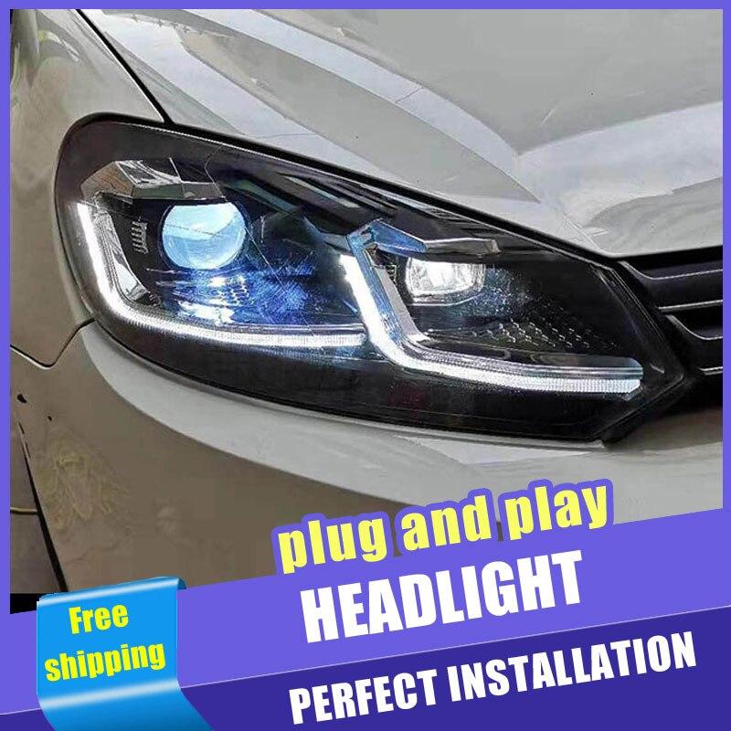 2 pièces voiture Style LED phares pour Volkswagen Golf 6 09-13 pour Golf 6 lampe frontale LED DRL lentille Double faisceau H7 caché xénon bi xénon le