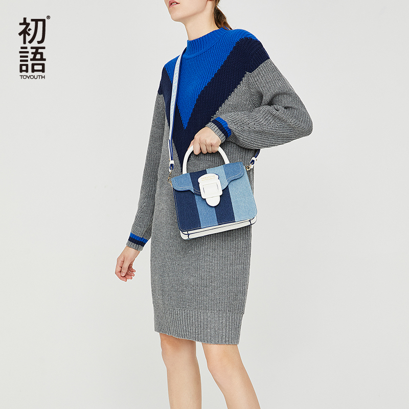 Toyouth Autumn Winter Knitted Sweater Dress T13005