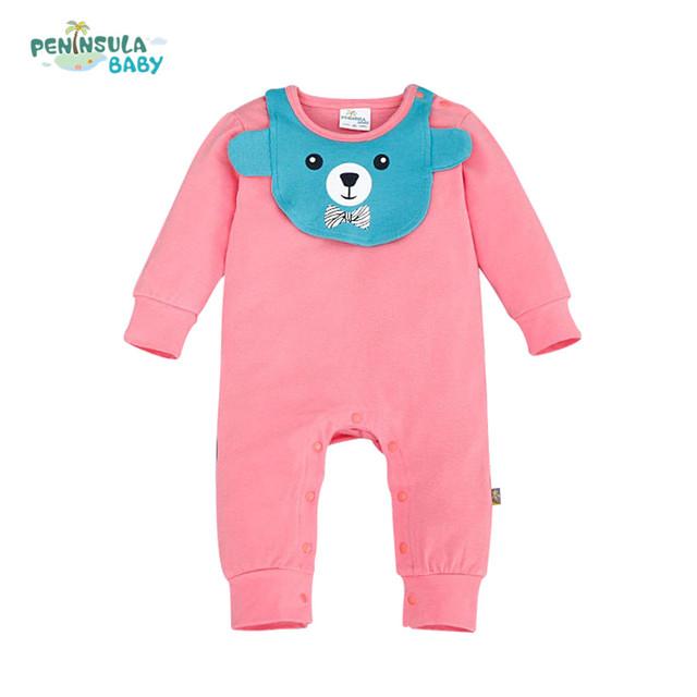 Ropa de bebé oso babero + mamelucos recién nacido color sólido ropa niños niñas mono del bebé del mameluco de algodón ropa infantil