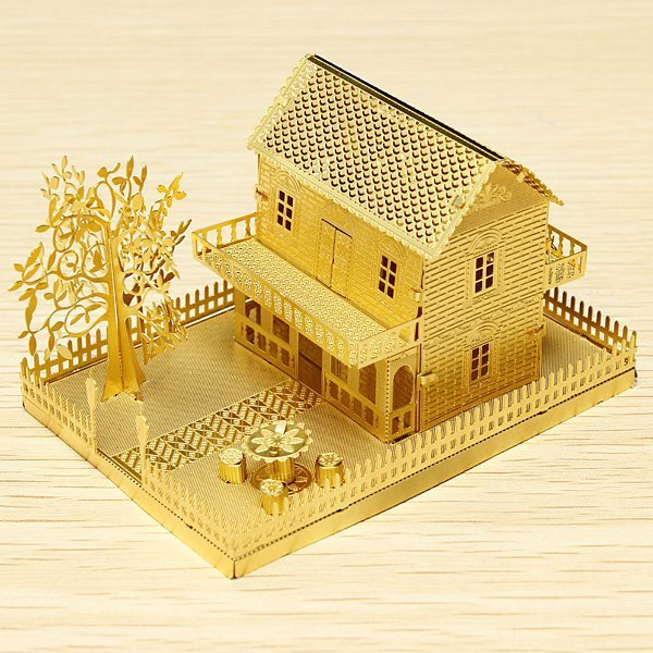 Piececool Mini Villa P028-G DIY Toy 3D Laser Cut Models Metal Puzzle For Kids Gifts
