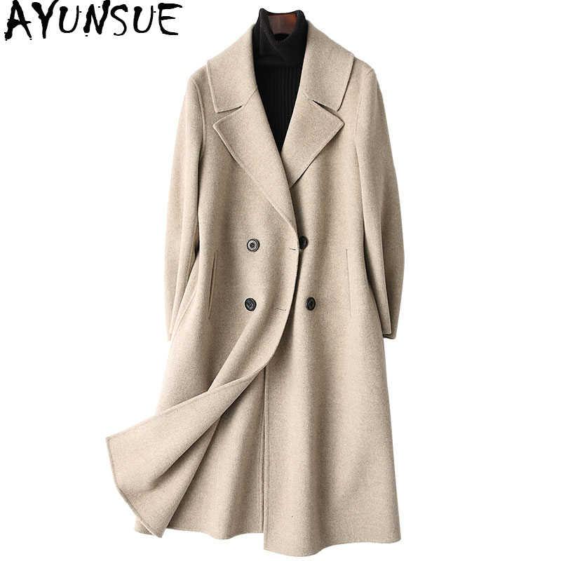 AYUNSUE casaco feminino 2019 Весна 100% двустороннее шерстяное пальто женское длинное пальто женские зимние куртки верхняя одежда 37159 WYQ1159