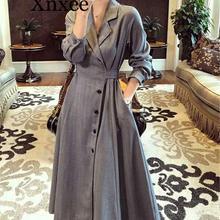 Xnxee длинный Тренч Женский винтажный рукав Повседневная тонкая ветровка женская верхняя одежда Тренч длинный для женщин одежда Bleu