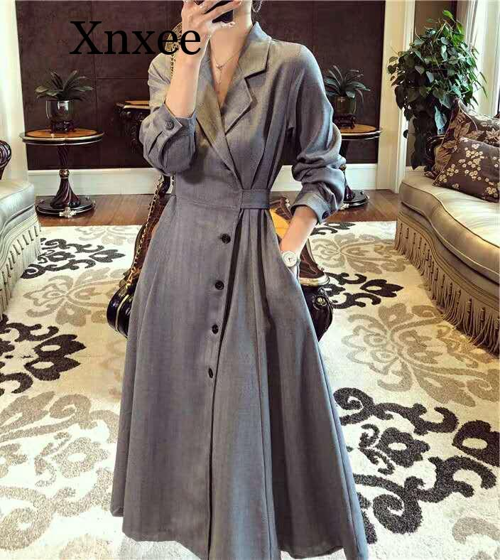 Xnxee Long   Trench   Female Vintage Sleeve Casual Slim Windbreaker Female Ladies Outerwear   Trench   Coat Long For Women Bleu Clothes
