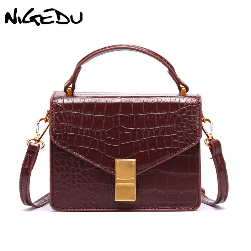NIGEDU Designer Alligator Women Messenger bag Famous Brand Luxury Ladies Shoulder Bag female small handbag solid flap crossbody цена