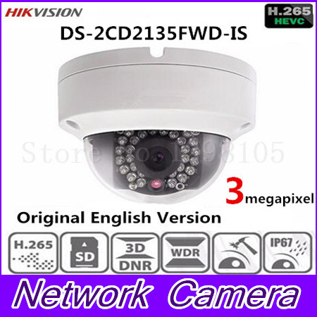Hikvision Original English Surveillance Camera DS-2CD2135FWD-IS 3MP Ultra-Low Light Mini Dome CCTV IP Camera Audio H.265 IP67 hikvision ds 2df8223i ael english version 2mp ultra low light smart ptz camera ultra low illumination dark fighter