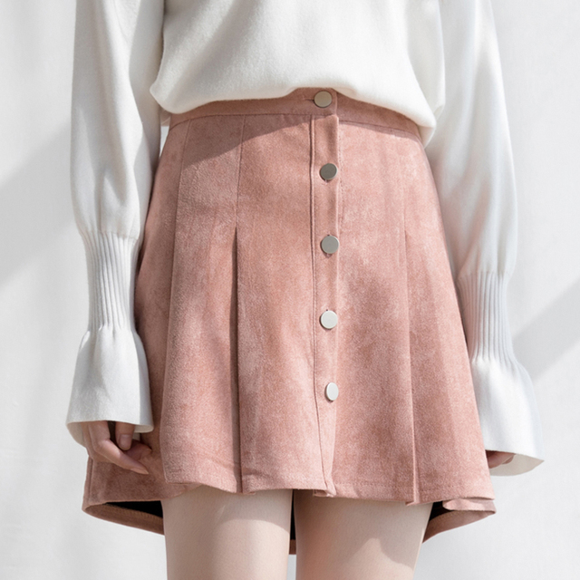 59369ccc3 Women Suede Mini Skirts 2018 Autumn Burgundy Single Breasted A-Line Pleated  Skirt Female High