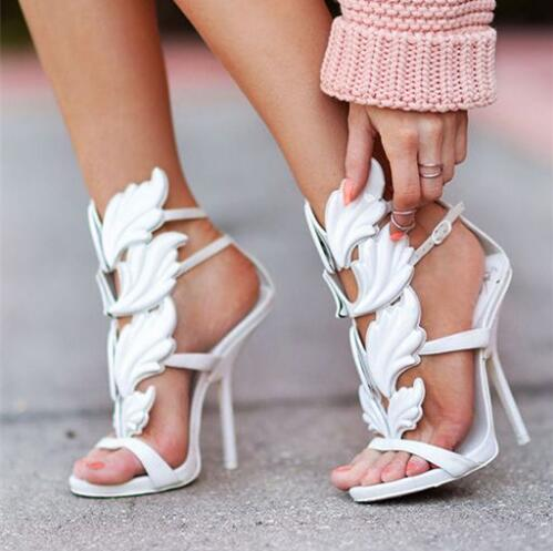 New Fashion Leaf Strappy Dress Sandals Solid Gladiator Sandals Women High Heels Shoes Woman Metallic Winged Women Sandals 2017 hottest golden metallic leather wing sandals silver gold red gladiator high heels shoes women metallic winged sandals