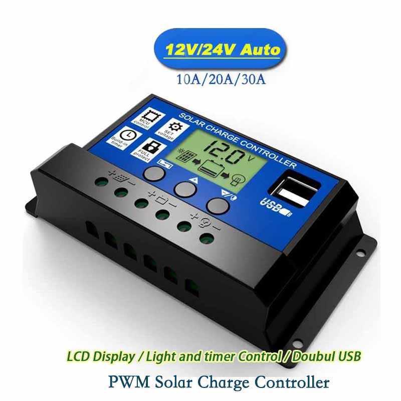 Frete grátis!! Dc 12 v 24 v automóvel 10a 20a 30a pwm solar carregador de bateria reguladores fotovoltaicos com display lcd e 5 v usb