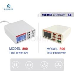 PHONEFIX 6 Port szybka ładowarka usb ue usa UK wtyczka do iphone'a do naprawy stacja szybkiego ładowania z wyświetlaczem LCD ładowarka zasilająca w Zestawy narzędzi ręcznych od Narzędzia na