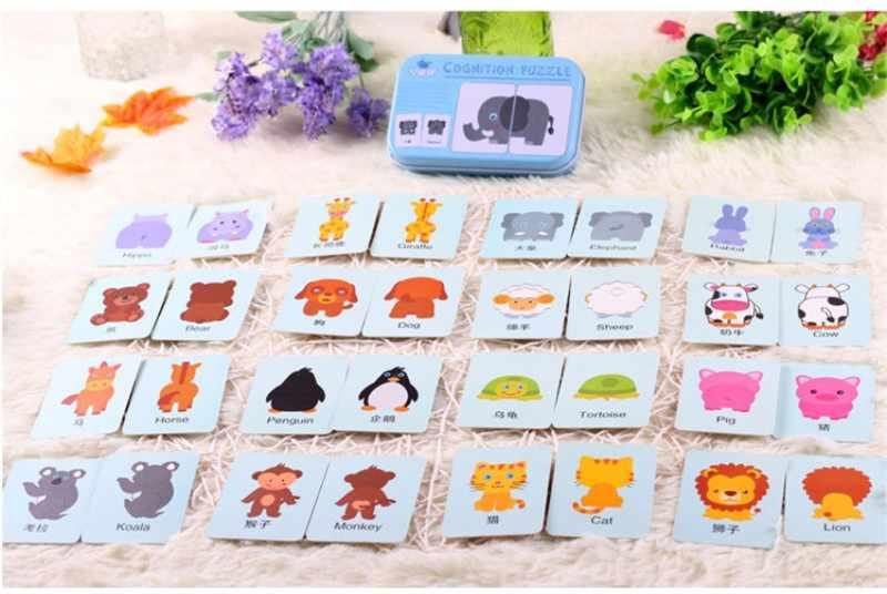 Дети Монтессори Educativos веселье английское слово Карманный флэш-карты Детские Обучающие английские настольные игры головоломки матч