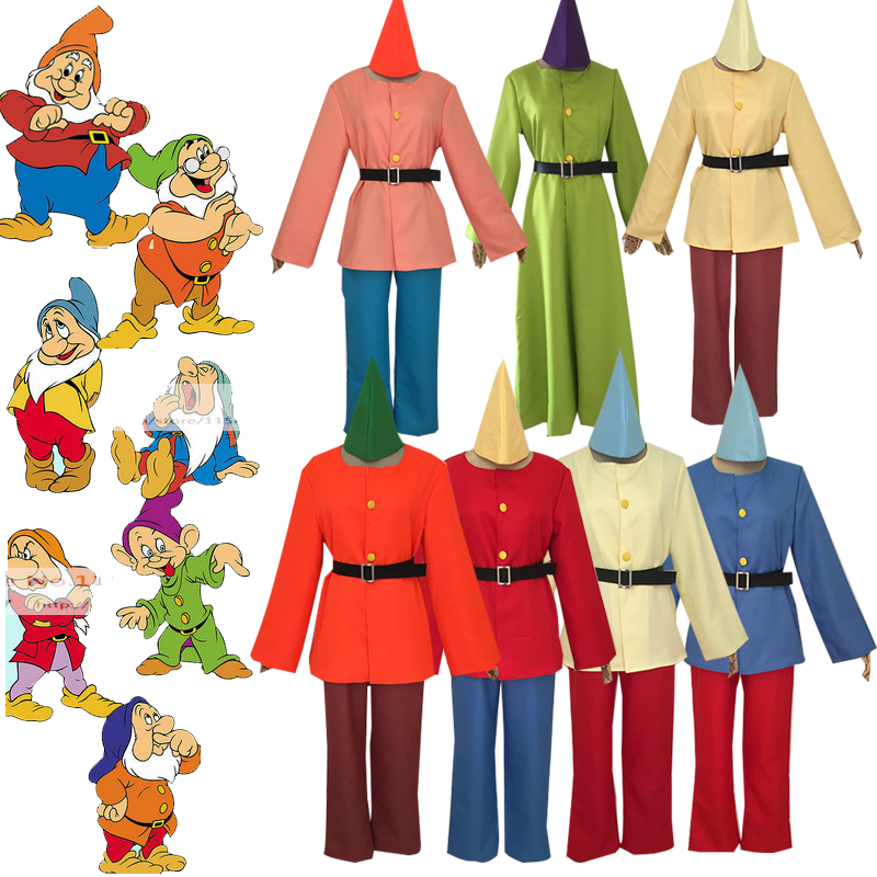 US $41 75 13% OFF|Anime Snow White and Seven Dwarfs Cosplay Costume  Halloween Carnival Dwarf Stage Performance Uniform Fairy Tale Outfit Full  Set-in