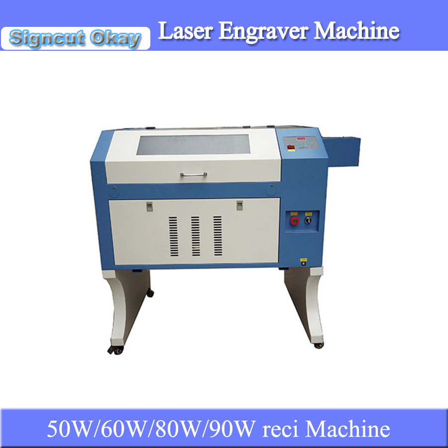 60W/80W/90W Reci 4060 Laser Engraving Cutting Machine Glass Laser Engraver For Glass Water Bottle Coffee Cup Caving