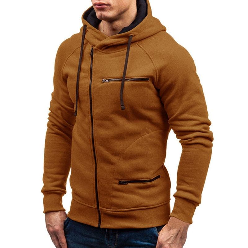 2020 Men Hoodie Sweatshirt New Casual Solid Long Sleeve Mens Hoodies Slim Zipper Hooded Cardigan Sweatshirts Men Hoody Sweat Homme 5