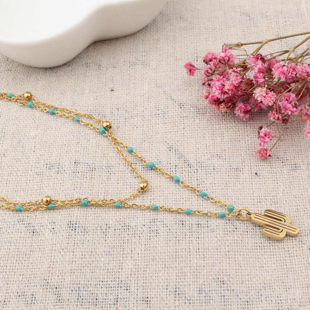 FINE4U N209 Trendy Summer Jewelry Cactus Pendants Necklace For Women Double Layer Stainless Steel Chain Rosary Beads Necklace