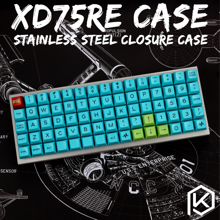 stainless steel bent case for xd75 re 60 custom keyboard enclosed case upper and lower case