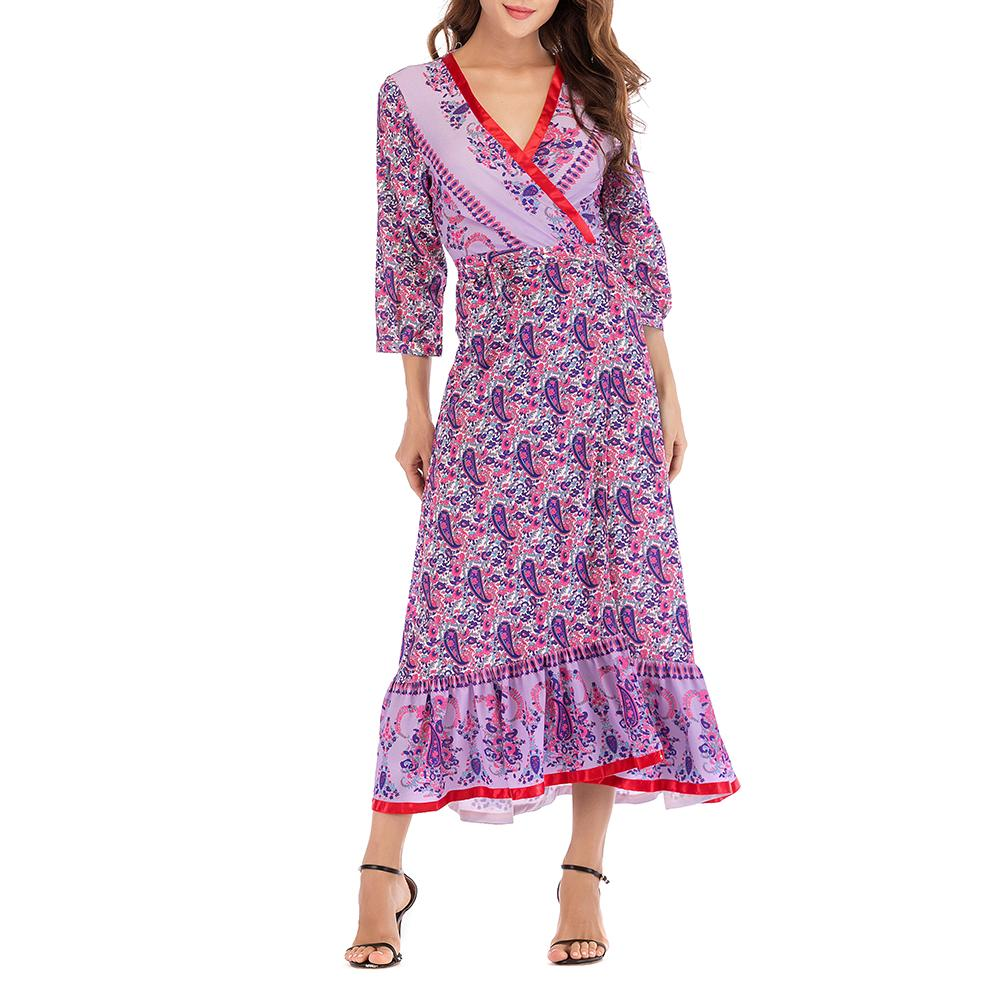 Women's Bohemian Flare Printing Dress Robe Boho Female Autumn Dress Puff Sleeve V-neck Long Maxi Dress Spring Clothing Vestidos
