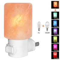 Mini Hand Carved Himalayan Salt Lamp Plug In Nightlight Air Purifying Night Light 360 dgree Rotatable Plug 7W Bulb