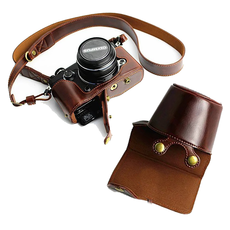 New Luxury PU Leather Camera Bag Case For Olympus PEN-F PENF Take Out Battery Bottom Opening with Strap