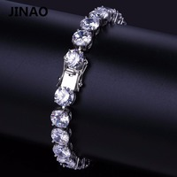 JINAO Hip Hop Iced Out Bling Jewelry Bracelet Gold Silver Color Plated Micro Pave CZ Stone