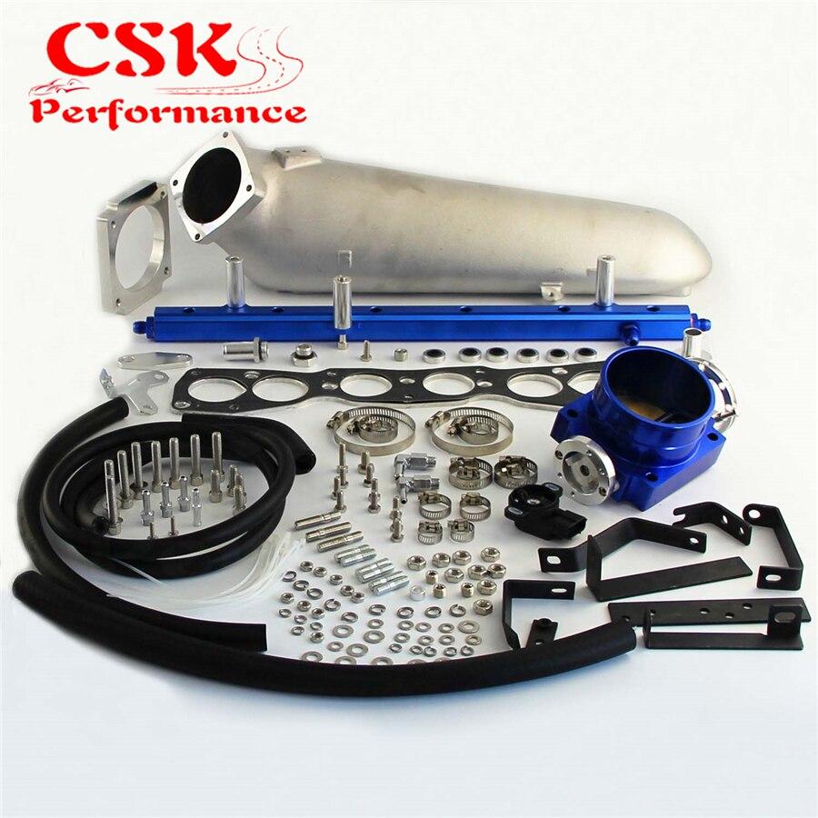 for Nissan Skyline RB25 RB25DET Q45 Throttle body /& Top fuel rail kit Blue /& TPS