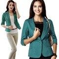 Womens 3/4 Sleeve Blazer One Button Suit Jacket Coat Outwear Business Tops