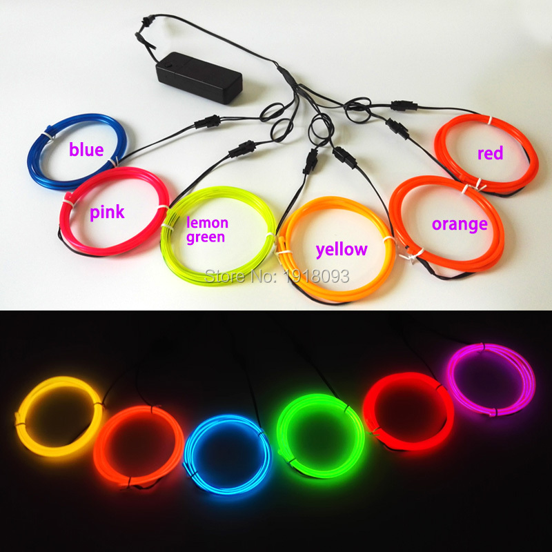 3.2mm 1M x 6pieces multicolor flexible EL wire electroluminescent wire rope tube Led neon light rope for DIY LED Strip decor