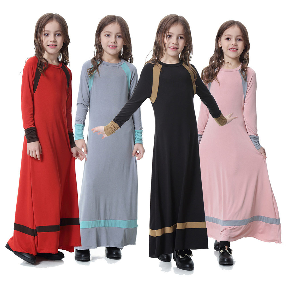 Girls Nightgown Night Dress One-pieces Sleepdress Muslim Fashion Solid Color Long-sleeves Sleep Gown Children Plus Size 3XL