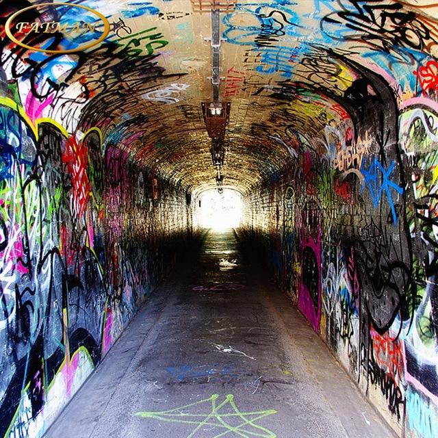 Custom D Photo Wallpaper European Style Retro Graffiti Tunnel Mural Restaurant Living Room Coffee House Wallpaper