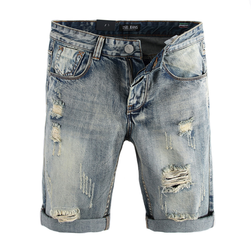 2018 Summer Fashion Men's   Jeans   Shorts High Quality Knee Length Ripped Short   Jeans   Denim Shorts Classical DSEL Cotton Men Shorts