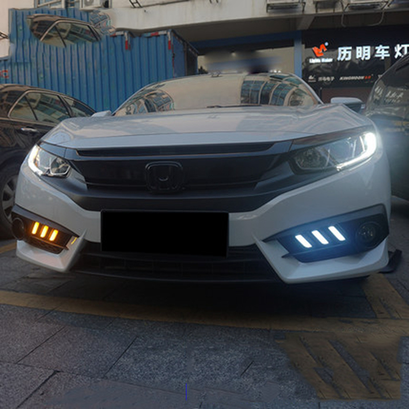 Car Accessories For Honda Civic 10th 2016 2017 Turning Signal Style Relay 12V LED DRL Daytime Running Lights With Fog Lamp Hole new dimming style relay waterproof 12v led car light drl daytime running lights with fog lamp hole for mitsubishi asx 2013 2014