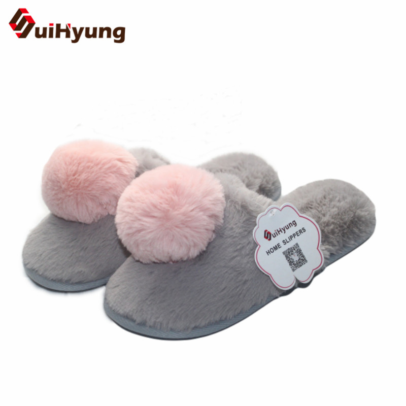 Winter New Women's Slippers Cute Hairball Plush Indoor Shoes Soft Bottom Non-slip Home Shoes Floor Cotton Slippers tolaitoe autumn winter animals fox household slippers soft soles floor with indoor slippers plush home slippers