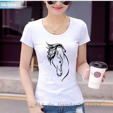 KOLVONANIG Summer Women T Shirt Short Sleeve Round Neck Horse Animal Print Tees Streetwear Womens Clothing Hip Hop Tee Tops