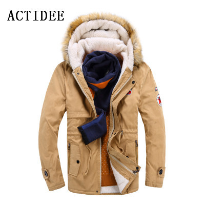 New Brand Men's White Cotton Down Jacket Casual Turn-dwon Fur Hood Parka Wool Winter Jacket Men Fashion Overcoat Outerwear