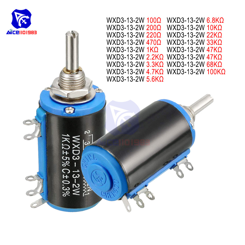 WXD3-13-2W Wirewound Potentiometer Resistance 100R 470R 1K 4.7K 6.8K 10K 22K 47K 100KΩ Ohm 10 Turns Linear Rotary Potentiometer