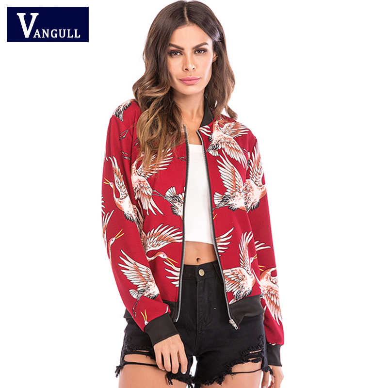 Women Birds Crane Print Baseball   Jacket   2019 New Spring Fashion Coat Female Elegant Long Sleeve Autumn Tops Zipper   Basic     Jackets